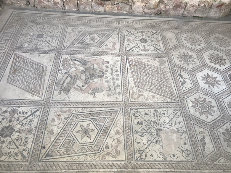 Floor mosaic The Punishment of Dirce in Pula Croatia