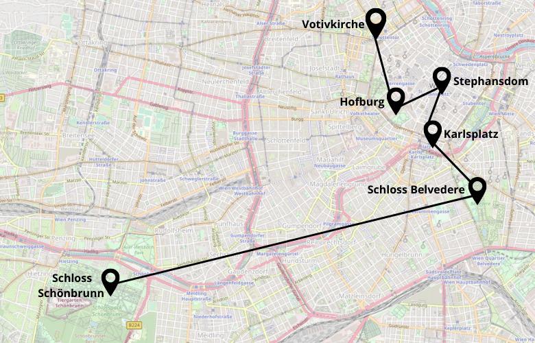 1 Tag Wien Stadtrundgang Karte Map Plan