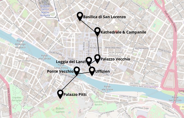 1 Tag Florenz Stadtrundgang Karte Map