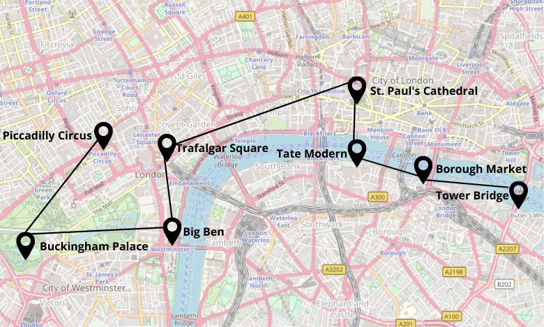 2 Tage London Stadtrundgang Karte Map