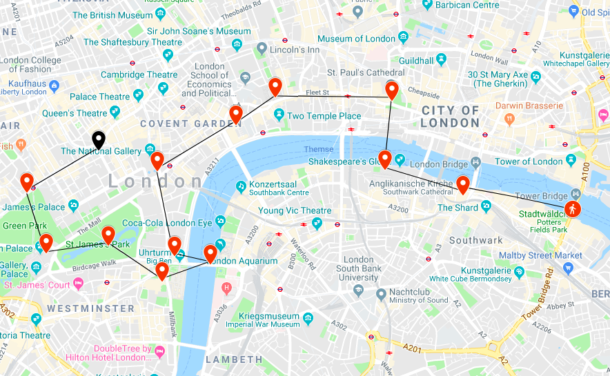 Two Days London The Perfect itinerary Map