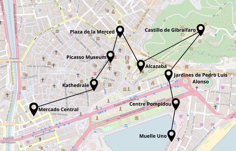 1 Tag Malaga Stadtrundgang Karte Map