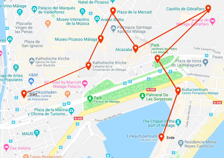 Malaga One Day Itinerary Map