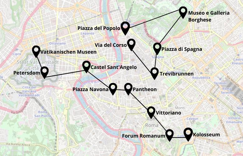 2 Tage Rom Stadtrundgang Karte Map