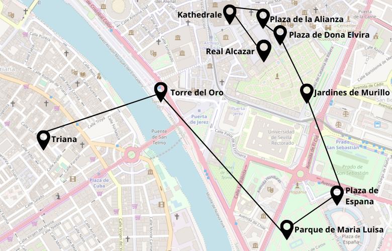 1 Tag Sevilla Stadtrundgang Karte Map