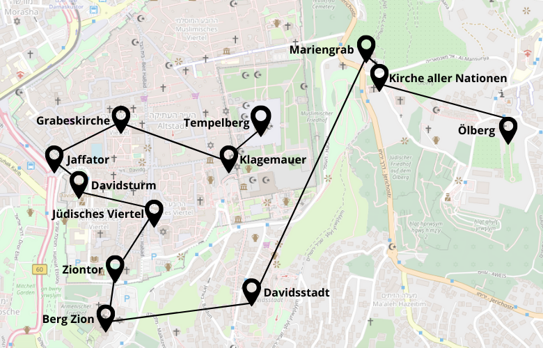1 Tag Jerusalem Stadtrundgang Karte Map