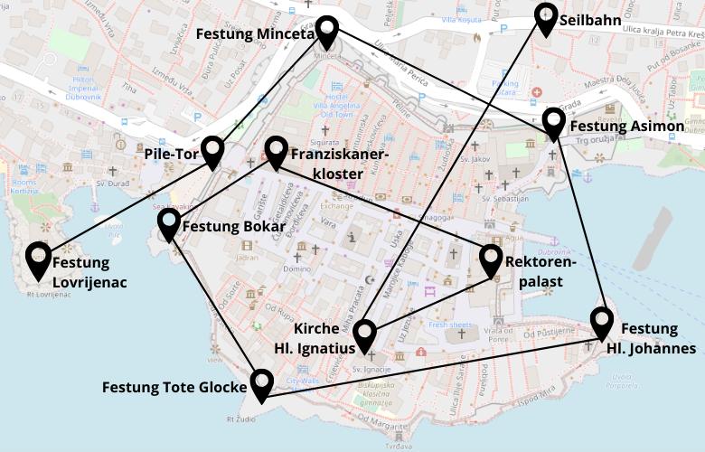 Dubrovnik Stadtrundgang 1 Tag Karte Map