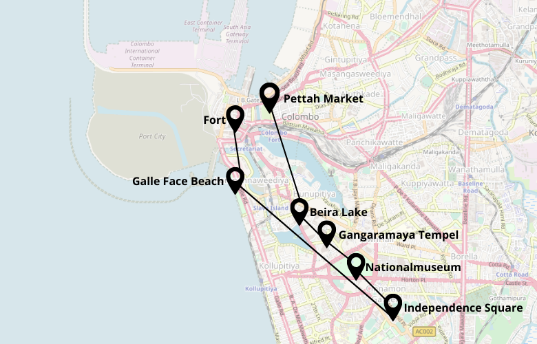 1 Tag Colombo Stadtrundgang Karte Map