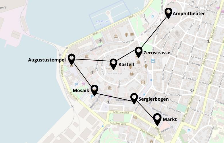 1 Tag Pula Stadtrundgang Karte Map