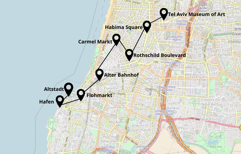 1 Tag Tel Aviv Stadtrundgang Karte Map