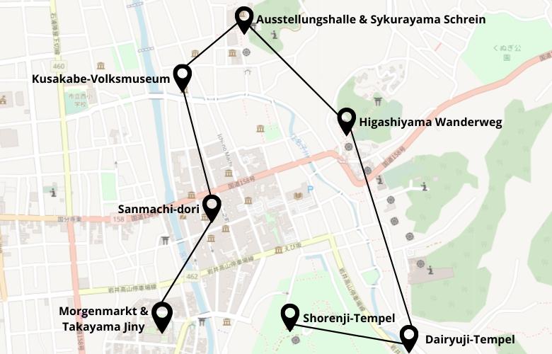 1 Tag Takayama Stadtrundgang Karte Map
