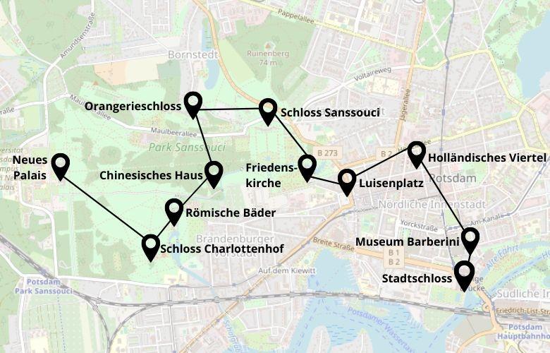 Ein Tag Potsdam Stadtrundgang Karte Map Plan