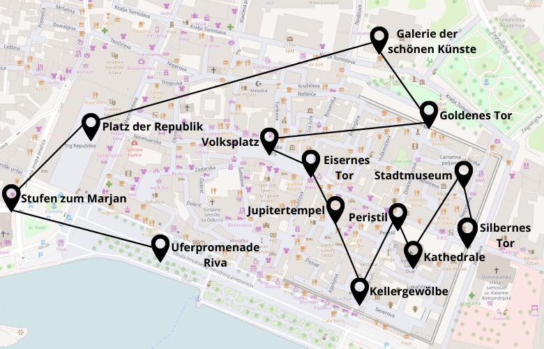 1 Tag in Split Stadtrundgang Karte Stadtplan