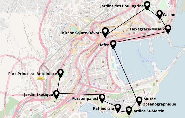 1 Tag Monaco Monte-Carlo Karte Stadtplan Stadtrundgang