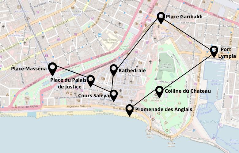 Ein Tag Nizza Stadtrundgang Karte Stadtplan