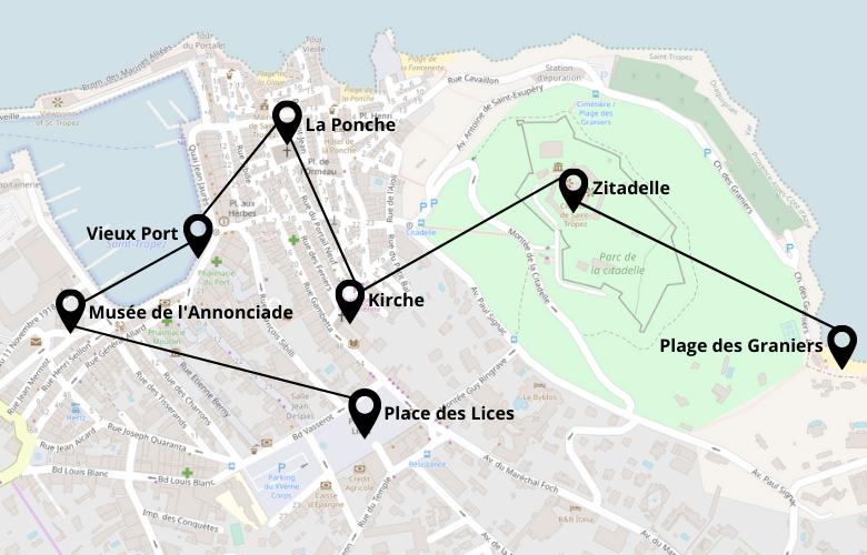 1 Tag in Saint Tropez Stadtrundgang Karte Stadtplan