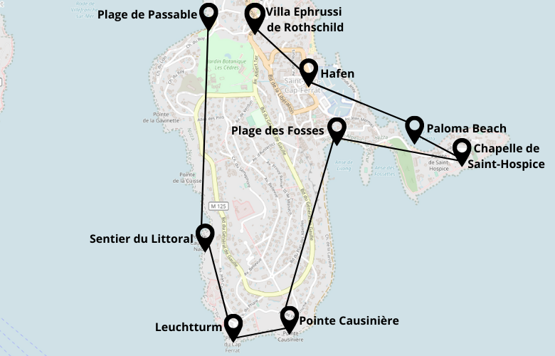 1 Tag in Saint Jean Cap Ferrat Stadtrundgang Karte Stadtplan