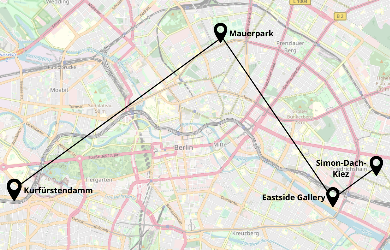 Ein Wochenende in Berlin Stadtrundgang Karte Stadtplan