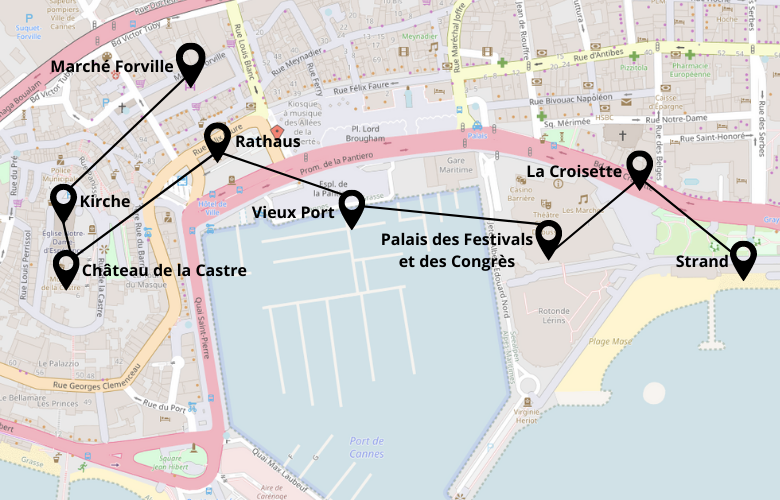 1 Tag Cannes Stadtrundgang Karte Plan Map
