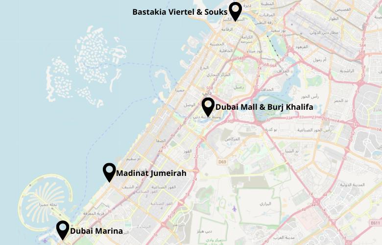 1 Tag Dubai Stadtrundgang Karte Map