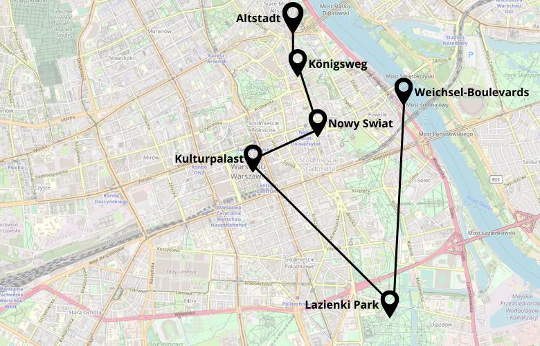 1 Tag Warschau Stadtrundgang Karte Map