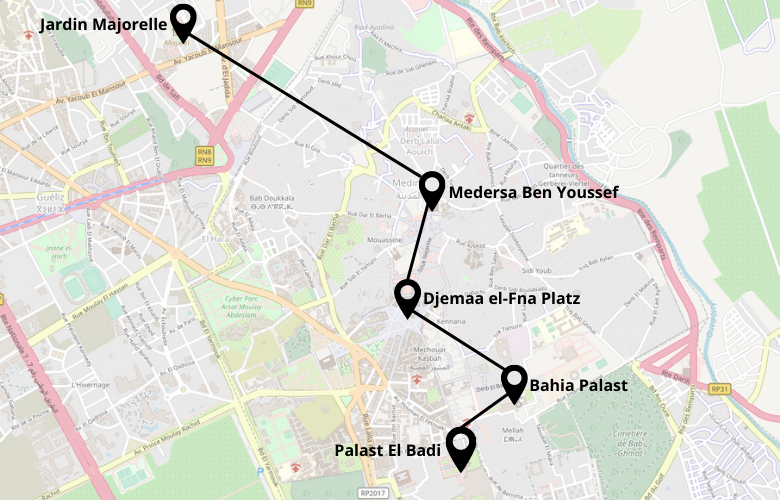 1 Tag Marrakesch Stadtrundgang Karte Map