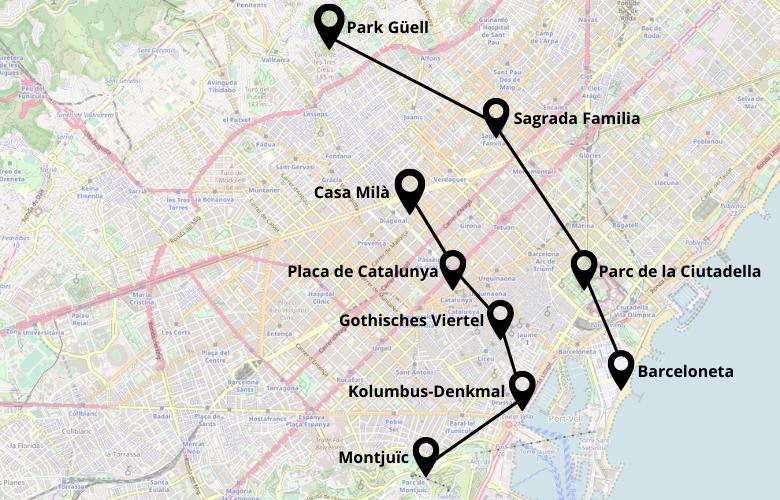 2 Tage Barcelona Stadtrundgang Plan Karte Map
