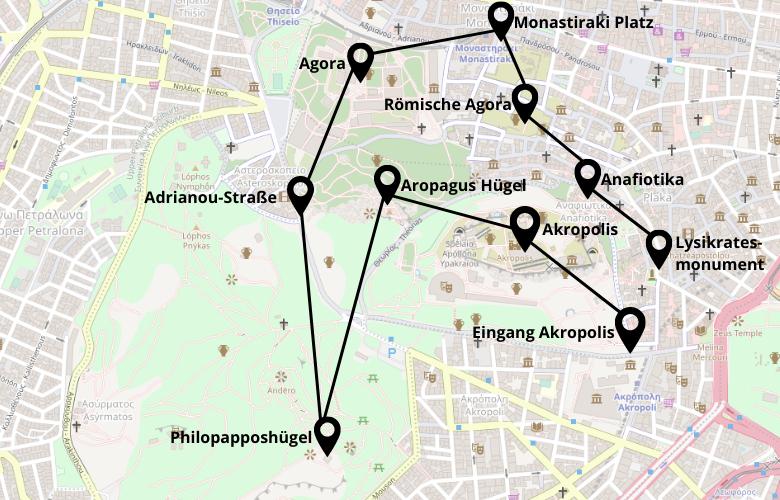 1 Tag Athen Stadtrundgang Karte Map Plan
