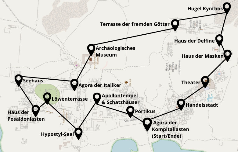 Insel Delos Rundgang Karte Plan Map