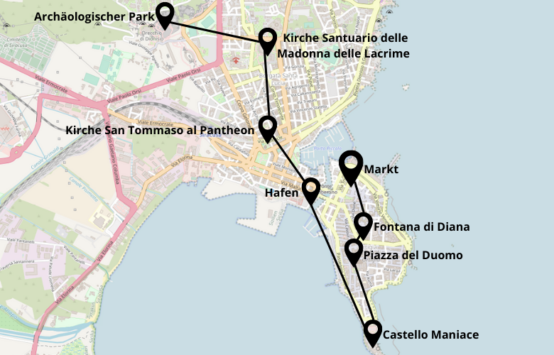 1 Tag Syrakus Sizilien Stadtrundgang Karte Map Plan